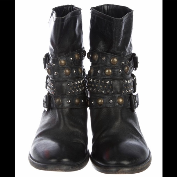 Barneys New York Shoes - Barney's Black Distressed Leather Embellished Boot
